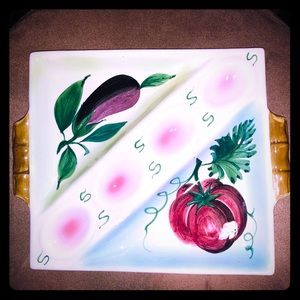 Vintage square egg plate hand painted in Italy